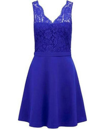 $enCountryForm.capitalKeyWord NZ - Hot Sell V Neck Blue Sheath Knee Length Mother of the Bride Dresses with Lace for Wedding Party Mother of the groom Dresses