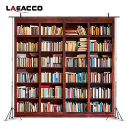 bookshelf backdrop 2019 - Laeacco School Library Study Bookshelf Scene Children Photography Backgrounds Customized Photographic Backdrops For Phot