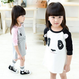 baby panda bears Australia - Baby Girls stereoscopic panda cartoon bear long-sleeved dress girls stitching sweet cotton long sleeve shirt dress