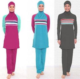 2ae51636f5 Plus Size Muslim Swimwear Women Modest Patchwork Full Cover Swimsuit Islamic  Hijab Islam Burkinis Wear Bathing Suit 4XL