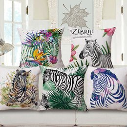 Painting home zebra online shopping - Watercolor Painting Animal Zebra Art Cushion Covers Tropical Plants Flowers Cushion Cover Linen Cotton Pillow Case For Home Decoration
