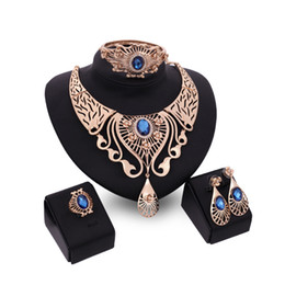 blue diamond wedding necklace Australia - Crystal Dubai 18K Gold Pendant Necklace Sets Fashion African Diamond Wedding Bridal Jewelry Sets (Necklace + Bracelet + Earrings +Ring)