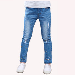 Years old girl jeans online shopping - Teenage Kids Children s girls Rhinestones jeans denim pencil pants in school for girls clothing years old
