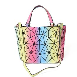 geometric fold tote bag Canada - Fashion Laser Shoulder Diagonal Bag Geometric Bag Folding Lady Handbag Casual Lingge handbag Tote Messenger Bag