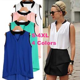 Discount plus size sleeveless blouses collar - Sleeveless Shirts Women Chiffon Blouse Work Office Lady Blusas 2019 Roupas Camisas Plus Size Summer Thin Shirts Top Tee