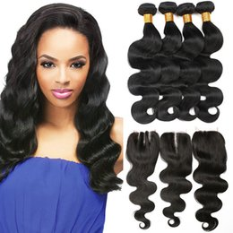 Discount cheap wet wavy hair bundles - Body Wave 4 Bundles With Closure 7a Virgin Hair Brazilian Wet And Wavy Hair Bundles Unprocessed Cheap Hair Weaves Extens