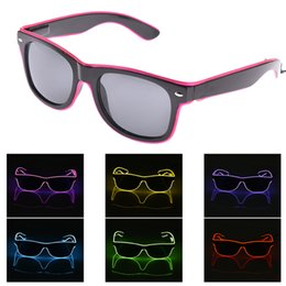 Discount bulb costumes - el glasses El Wire Fashion Neon LED Light Up Shutter Shaped Glow Sun Glasses Rave Costume Party DJ Bright SunGlasses