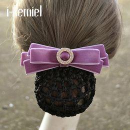 Crochet Snood Hair Net Australia - i-Remiel Hair Clip Floral Lace Satin Hair Cover Flower Bowknot Crochet Bun Net Snood Jewelry Hair Accessorie Headdress Lady