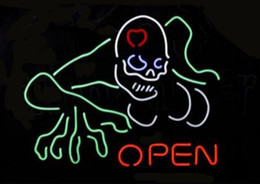 "neon open sign white Australia - OPEN Haunted House Skull Neon Light Sign Display Beer Bar Disco KTV Pub Club Custom Handmade Real Glass Tube Neon Signs 17""X14"""