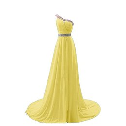 make up models UK - 2018 One Shoulder Women Long Prom Evening Gowns Sweep Train With Lace Up Bead Bridesmaid Dress Chiffon Formal prom Home Coming Custom Made