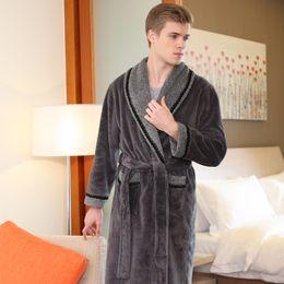 1b4ba859bc On Sale Men Thick Warm Winter Bathrobe Soft as Silk Extra Long Kimono Bath  Robe MEN S Dressing Gown for Mens Flannel Robes
