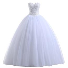 Abito da sposa in tulle con scollo a cuore in tulle con perline 2019 Abiti da sposa lunghi in avorio bianco da pavimento