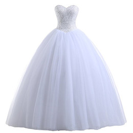 Wholesale Beaded Sweetheart Tulle Ball Gown Wedding Dress White Ivory Floor Length Bridal Gowns New Wedding Dresses