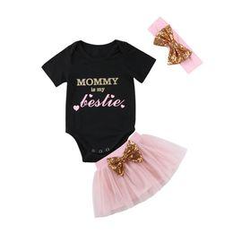 Baby Sequin Tutu Skirt Australia - 0-18M Cute Newborn Baby Girl Short Sleeve Cotton Romper Tops+Sequins Bowknot Tutu Skirt Headband Outfits 3PCS Clothing Set