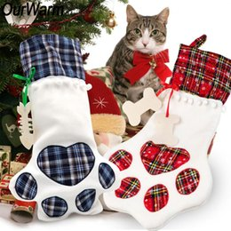 cat christmas ornament NZ - wholesale 20Pcs Dog Paw Christmas Stocking 46x 28cm Plaid Christmas Gift Bags Xmas Tree Ornaments Large Cat Socks New Year Decor