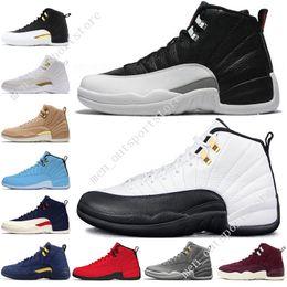 735ea025f3c240 12 12s mens basketball shoes Michigan Bulls College Navy Vachetta Tan Wheat Dark  Grey Bordeaux NYC UNC men Sports sneakers outdoor designer