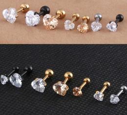 BarBell stud earrings online shopping - Stainless Steel Jewelry L Heart Zircon Tragus Earring Helix Barbell Ear Piercing Cartilage Ring Jewelry Women women luxury earring