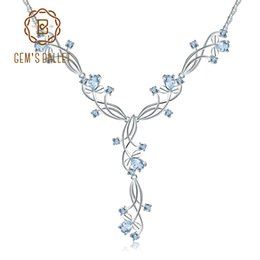 ballet necklaces Canada - Gem's Ballet 7.89ct Natural Sky Blue Topaz Romantic Gemstone Pendants For Ladies 925 Sterling Silver Cute Necklace Fine Jewelry