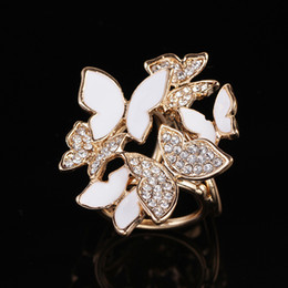 wholesale rhinestone brooches Australia - Korean Fashion Wild Butterfly Tricyclic Scarf Buckle Brooch Women's Stewardess Rhinestone Scarf Buckle Jewelry