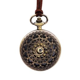 Discount antique spider necklace - Pocket watch western style hollow out love spider web flower pocket watch necklace courtly printed pocket watch necklace