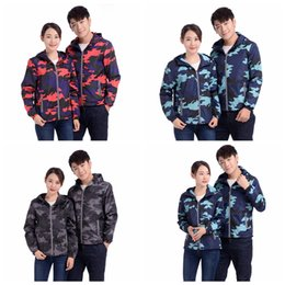 Waterproof camouflage clothing online shopping - Camouflage Hooded Jacket Cool Reflective Zipper Jacket couple Coat Windbreaker Waterproof Field Military Jackets Coat home clothing GGA1069