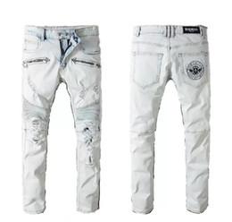 Venta al por mayor de B diseñador de ropa pantalones slp azul negro destruido para hombre delgado denim biker recto jeans ajustados hombres ripped jeans