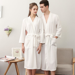 2546f7ed00 Lovers Autumn Water Absorption Fashion Towel Bath Robe Men Sexy Kimono  Waffle Bathrobe Womens Plus Size Dressing Gown Male Robes
