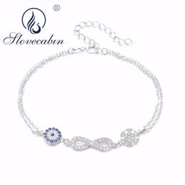 ba5664c9025 Slovecabin Italy Jewelry 925 Sterling Silver Blue Evil Eye Bracelet With  Adjustable Chain Silver Infinity 8 Snowflake Bracelet