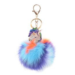 China Unicorn Pompom Keychain Colorful Fake Rabbit Fur Ball Fluffy Key Chain Horse Bag Car Keyring Bag Accessories cheap fake women bag suppliers