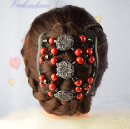 Hair barrettes beads online shopping - Women Fashion Wooden Beads Variety Hair Accessories Double Rows Comb Hair Combs Different Styles Mood Wood Barrettes