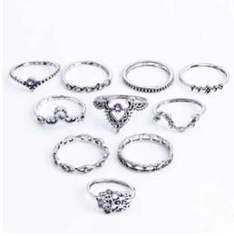 $enCountryForm.capitalKeyWord NZ - IPARAM Fashion 10Pcs Set Bohemian Hollow Water Drop Pattern Vintage Crystal Beidou Seven Stars Fatima Hand Ring For Women gifts
