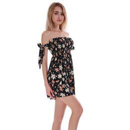 104e1ef54c good quality Women's Summer Dress 2018 Sexy Printing Mini Slash Neck Beach  Dress Wrapped Chest Chiffon Vintage Women's Dresses