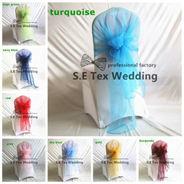 chair hoods sashes Canada - Nice Looking 100pcs Wholesale Price Organza Chair Hood Chair Cap Sash For Banquet Wedding Chair Cover Decoration