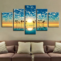 Pictures Sunsets Scenery NZ - HD Prints Decor Wall Art 5 Pieces Flowers Blue Sky White Cloud Sunset Sunshine Scenery Modular Posters Pictures Canvas Paintings