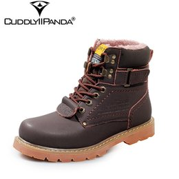 Metal Sneakers Australia - 2019 CuddlyIIPanda Metal Buckle Work Tooling Split Leather Men Winter Boots Plush Fur Snow Boots High Quality Martin Boots Sneakers
