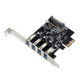 Toptan satış Freeshipping PROMOSYON! Sıcak 4 Port SuperSpeed USB 3.0 PCI Express Denetleyici Kartı Adaptörü 15 pin SATA Güç Konektörü Düşük Profil
