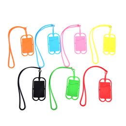 Cell Phone Pouch Neck Australia - Credit ID Card Bag Holder Silicone Lanyards Neck Strap Necklace Sling Card Holder Strap For iPhone X 8 Universal Mobile Cell Phone