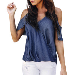 plus size short sleeve denim shirt 2019 - Womens Ladies Denim Blouse Tops Short Sleeve Summer Casual T Shirt Top plus size harajuku 2018 New Fashion summer tops d