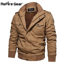 men winter gear 2019 - ReFire Gear Winter Warm Tactical Jacket Men Pilot Cargo Army Coat Thermal Thicken Wool Liner Cotton Jackets discount men