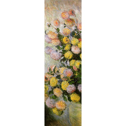 Paintings Vases UK - Canvas art oil painting Vase of Dahlias by Claude Monet impressionist artwork for bedroom decor