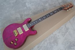 Discount private stock guitars - Free shipping Santana Flame Maple Top Purple Abalone Inlay Custom Shop Private Stock Signature 6 strings Electric Guitar