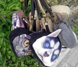Cartoon Ups NZ - women Comestic Makeup Bag 3D Cartoon Cats Dogs Cosmetic make up Bags Organizer Handbag Glitter Bling Sequins Women Clutch