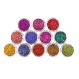 Glitter Tips UK - Professional 12 Colors Nail Art Powder Dust Make Up Shinny Shimmer Glitter Nails Decoration Tips Set Kit Wholesale Nail Tools