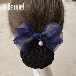 Crochet Snood Hair Net Australia - i-Remiel Floral Lace Satin Stylish Tulle Flower Hairgrips Bow Crochet Bun Net Snood Bowknot Jewelry Hair Jewelry Lady Women