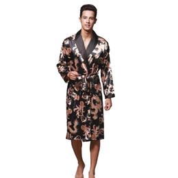 Discount chinese silk gown - 2017 New Arrival Black Male Silk Kimono Bath Robe Gown Chinese Men's Rayon Nightwear Turn-Down Collsr Loose leisure