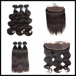 $enCountryForm.capitalKeyWord Australia - 8A Remy Brazilian Virgin Hair Bundles With 13X4 Lace Frontal Closure Body Wave Straight 100% Unprocessed Virgin Hair Wholesale Price