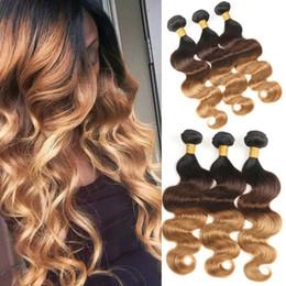 28 weave 2019 - 100% Human Hair Peruvian Body Wave Bundles 3 Pcs Wholesale Ombre Peruvian Hair Weave Bundles T1B 4 27 Color Free Shippin