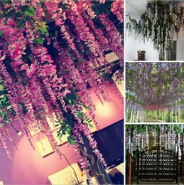 ArtificiAl purple wisteriA vines online shopping - Newest Flower Vine Wisteria Wedding Decor cm cm colors Artificial Decorative Flowers Garlands for Party Wedding Wreaths I134