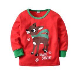 38e2146e4a Christmas Kids Baby Pajamas Set Elk Deer Pajama Striped Plaid trousers sets  Children boys gilrs pyjama Santa Claus Sleepwear home Outfits