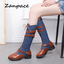 Discount denim blue ladies shoes - Big Size Denim Women's Boots Winter Knight Thigh High Heel Boots Ladies Shoes Round Top Woman Mid-tube Leather